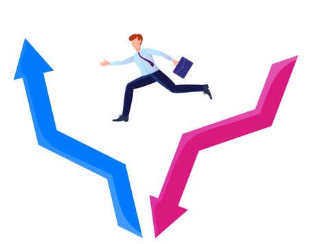 The concept of economic recovery. Businessman jumping from the red arrow falling down to the blue arrow going up. Savings and investment financial plan, stock market outflow and recovery.