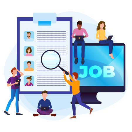 Online job search concept. A group of people are looking for a job. Selection of resumes and interviews via the Internet.