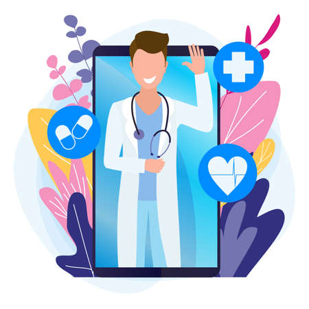 Male doctor online. Internet medicine, video call on a smartphone. Healthcare via web communications.