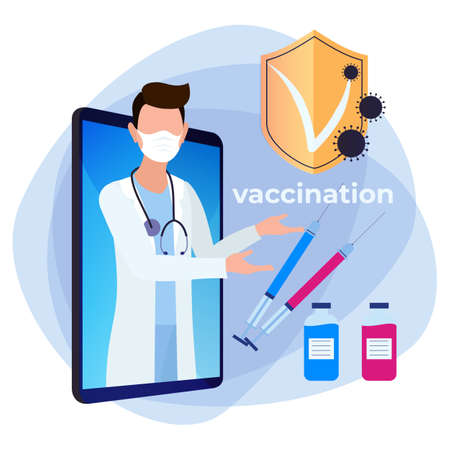 2019-nCoV coronavirus vaccination. Online doctor consults about the vaccine. Video call to the doctor.