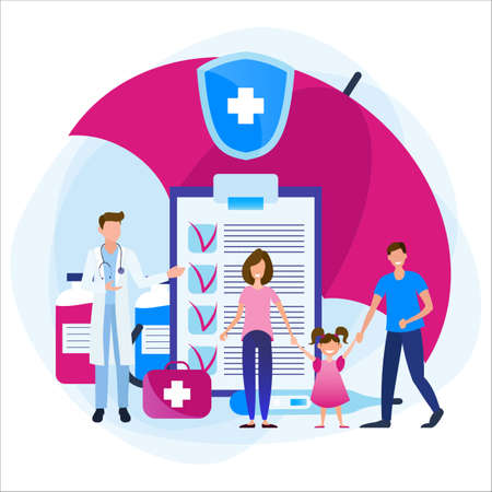 Health insurance. Health care and medical service concept. Family and doctor under an umbrella with medications and documents.