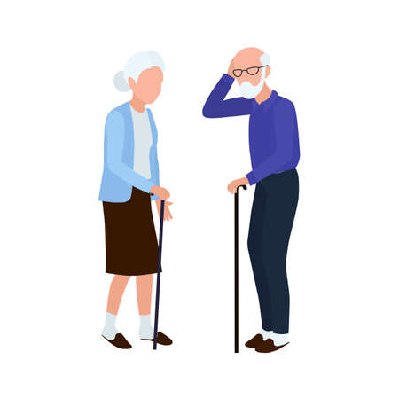 The old man and the old woman stand and walk with sticks. Elderly people.