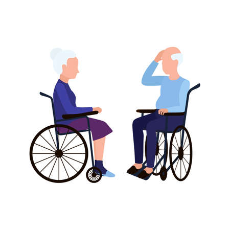 The old man and the old woman are sitting in wheelchairs. Elderly people. 矢量图像
