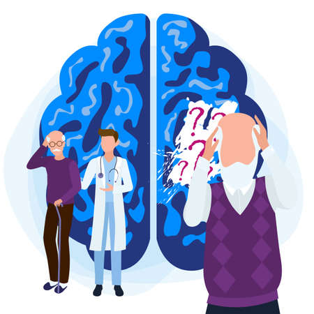 Alzheimers disease patients concept. A blackout in the memory of an old man. Medical care is provided to people with brain diseases and memory loss.