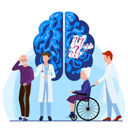 Alzheimers disease patients concept. Lapse of memory. Medical care is provided to people with brain diseases and memory loss.