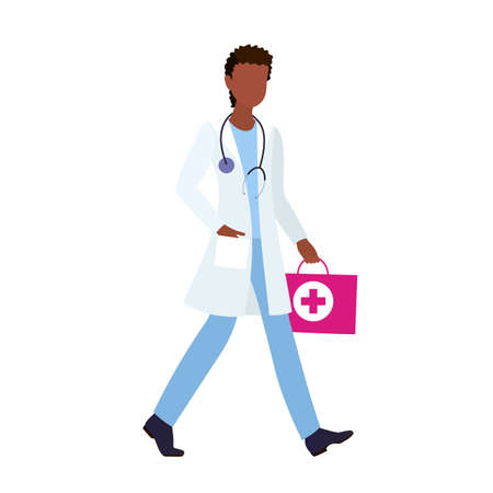 Male African black doctor rushing to provide medical assistance. Health care, work concept in flat style.