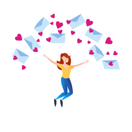 Valentines Day. A happy woman rejoices at a large number of congratulations, love letters. 矢量图像