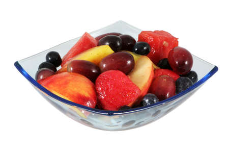 fruit salad: Fruit salad in a square bowl