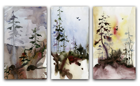 gloom: Set of forest landscapes. Watercolor painting. Stock Photo