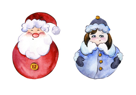 snow maiden: Rounded smiling Santa Claus and funny Snow Maiden with golden buttons on white background. Handmade watercolor painting. Can be used for Christmas and New year illustrations, greeting cards.