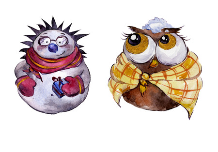 Rounded smiling hedgehog and funny owl with golden details on white background. Handmade watercolor painting. Can be used for Christmas and New year illustrations, greeting cards. Stock Photo