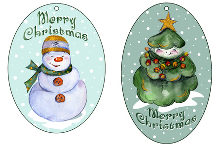 roundish: Rounded xmas tags for presents with smiling Christmas tree and snowman. Watercolor painting. Hand painted.