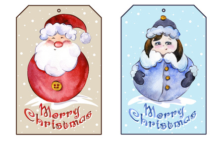 maiden: Rectangle christmas tags with smiling Santa Claus and funny Snow Maiden. Watercolor painting. Hand painted.
