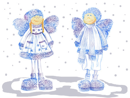 Two smiling Christmas angels with fluffy wings dressed in warm winter cloths and funny slippers on white background. Color pencil drawing. Hand drawn. Can be used for seasonal greeting cards, napkins.