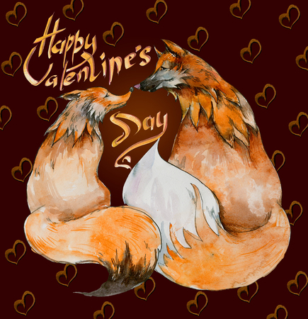 be happy: Couple of foxes in love on brown background with hearts and the sign Happy Valentines day. Watercolor painting. Hand drown. Square. Can be used for greeting card, childrens book illustration.