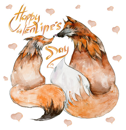 Couple of foxes in love on white background with hearts and the sign Happy Valentines day. Watercolor painting. Hand drown. Square. Can be used for greeting card, childrens book illustration.