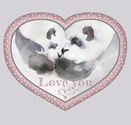 Couple of kissing pandas in heart shaped frame with the sign Love you. Watercolor painting. Hand drown. Square. Can be used for Valentine greeting card, childrens book illustration.