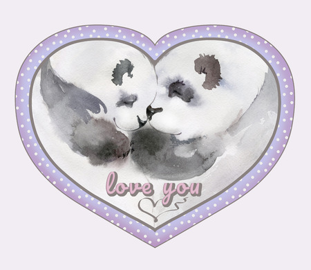 Couple of kissing pandas in heart shaped frame with the sign Love you. Watercolor painting. Hand painted. Square. Can be used for Valentine or Mothers day greeting card, childrens book illustration. Stock Photo