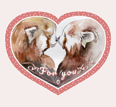 Couple of kissing red pandas in pink heart shaped frame with the sign for you. Watercolor painting. Hand drown. Square. Can be used for Valentine greeting card, childrens book illustration. Stock Photo