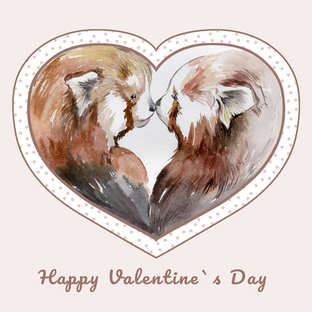 Couple of kissing red pandas in heart shaped frame with the sign Happy Valentines day. Watercolor painting. Hand drown. Square. Can be used for greeting card, childrens book illustration.
