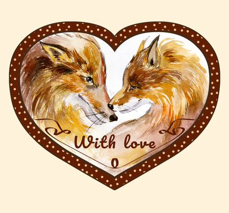 Couple of kissing foxes in profile on white background with the sign with love in heart shaped polka-dot brown frame. Watercolor painting. Hand drown. Square. Can be used for Valentine greeting card, childrens book illustration.
