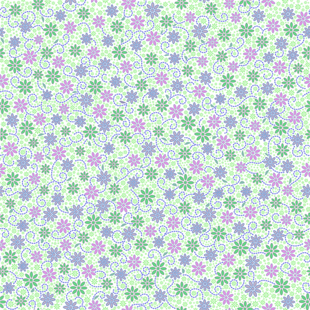 Seamless pattern with small gentle daisy flowers in pink, green, light violet color on white background. Can be used for wallpaper, fabric, wrapping paper.