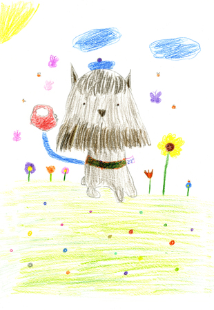 Black and brown dog (Miniature Schnauzer) in funny blue hat with leash having a walk. Hand drawn. Childrens pencil drawing simulation.