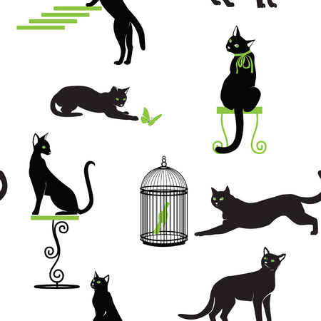 Set of black cats with green eyes and accessories in different poses on white background.  Seamless vector pattern.