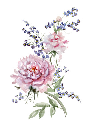 Fresh pink peonies and small bluebells on white background.  Watercolor painting. Hand drawn. Vertical orientation. Can be used for greeting cards, wallpapers, fabric, wrapping paper