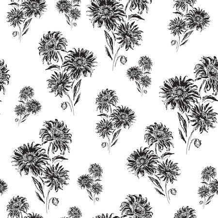 Vector seamless floral pattern. Black and white. Can be used for fabric, cloth printing, wrapping paper, wallpaper