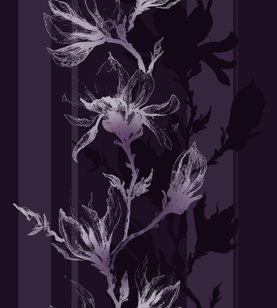 twigs: Light violet contour of magnolia flowers on a twig and vertical lines on dark purple background. Seamless pattern. Can be used as a design for fabric, wallpaper.