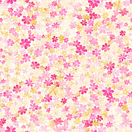 Seamless pattern with small gentle daisy flowers in pink, crimson and yellow color on white background. Watercolor painting. Hand painted. Can be used for wallpaper, fabric, wrapping paper.