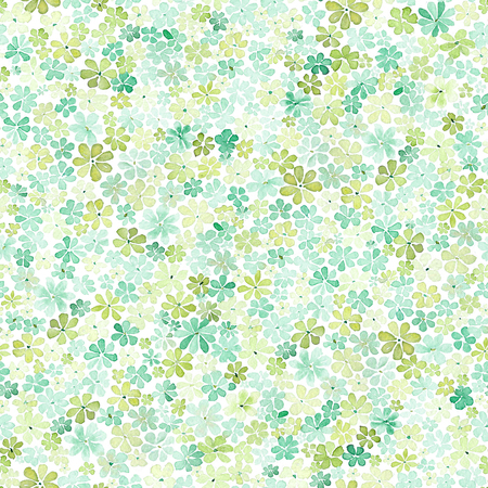 Seamless pattern with small gentle daisy flowers in green and yellow color on white background. Watercolor painting. Hand painted. Can be used for wallpaper, fabric, wrapping paper.