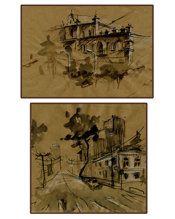 Set of two city landscapes on brown background. Watercolor painting. Hand painted. Craft paper. Outlines of modern and old buildings. Stock Photo