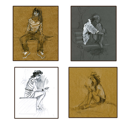 Set of scetches of sitting girls. Hand drawn. Pencil, chalk, tinted paper. Stock Photo