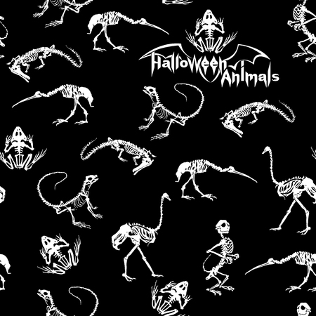 frightful: Halloween animals - white skeletons of reptiles (crocodiles, lizards, frogs), monkeys and birds (ostriches and herons) on black background. Seamless pattern. Stock Photo
