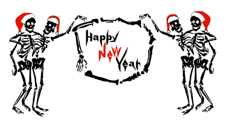 Embracing skeletons in Santas hats are holding the frame made of bones with inscription Happy New Year. Isolated on white background. Can be used as a greeting card, signboard or invitation.