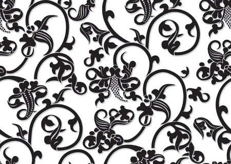Seamless Vector Vintage Red Pattern With White Contour On Black