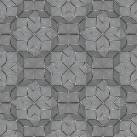 Glass decor tile with grooved surface. Seamless geometric pattern. Shapes of rhombs, squares, stars. Textured background.