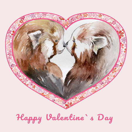 Two kissing red pandas in heart shaped frame with small flowers. Sign Happy Valentines day. Watercolor painting. Hand drawn illustration. Square. Pink background. Valentine greeting card.