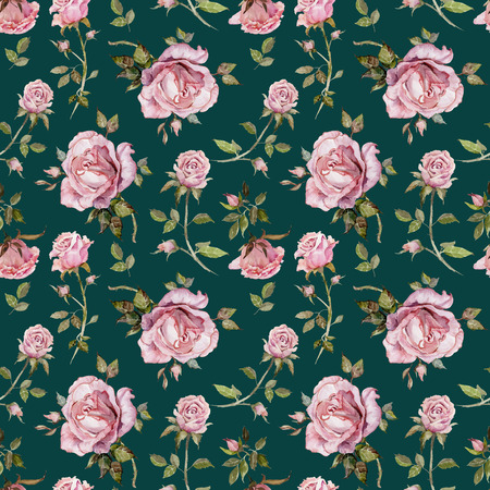 Fleur rose sur une brindille. Motif floral sans soudure. Peinture à l'aquarelle. Illustration dessinée à la main Banque d'images - 94273338