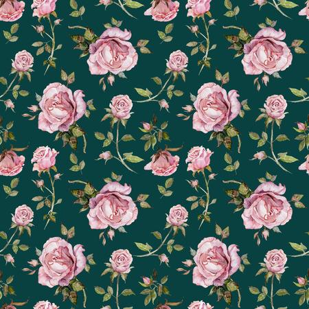 Rose Blume auf einem Zweig . Nahtloses Blumenmuster . Aquarellmalerei . Hand gezeichnete Illustration Standard-Bild - 94273338