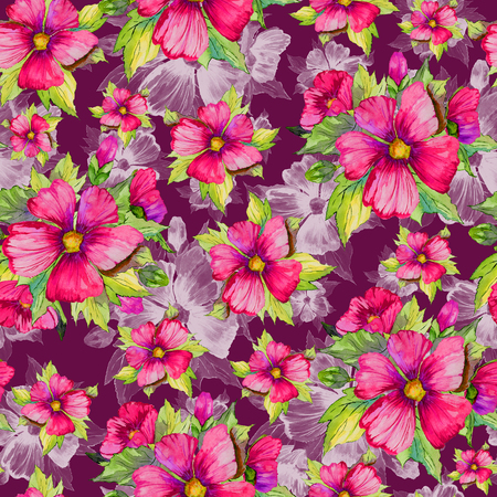 Seamless floral pattern made of red malva flowers on dark cherry background. Watercolor painting. Hand drawn and painted illustration. Can be used as for fabric, wallpaper, wrapping paper.