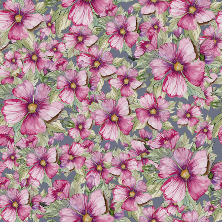 Seamless floral pattern made of purple malva flowers on grey background. Watercolor painting. Hand drawn and painted illustration. Can be used as for fabric, wallpaper, wrapping paper.