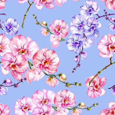 Purple and pink orchid flowers on bright blue background. Seamless floral pattern.  Watercolor painting. Hand drawn illustration. Can be used as a background, for fabric, wallpaper, wrapping paper.