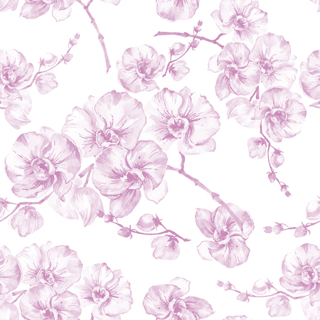 Orchid flowers on white background. Light pink contour. Seamless floral pattern. Watercolor painting. Hand drawn illustration. Can be used as a background, for fabric, wallpaper, wrapping paper.