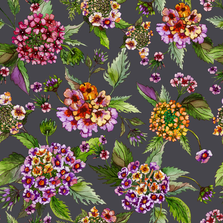 Beatiful lantana flowers with green leaves on grey background. Seamless floral pattern.  Watercolor painting. Hand drawn illustration. Can be used as for fabric, wallpaper, wrapping paper.