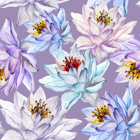 Beautiful floral seamless pattern. Large colorful lotus flowers on lilac background. Hand drawn illustration. Watercolor painting. Can be used as a design of textile or wallpaper.  版權商用圖片