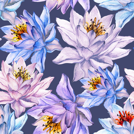 Beautiful floral seamless pattern. Large colorful lotus flowers on gray background. Hand drawn illustration. Watercolor painting. Can be used as a design of textile or wallpaper.