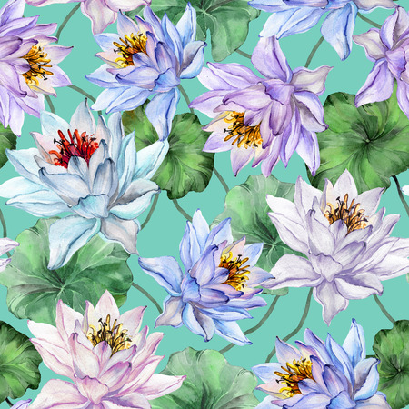 Beautiful floral seamless pattern. Large colorful lotus flowers with leaves on turquoise background. Hand drawn illustration. Watercolor painting. Design of textile or wallpaper.